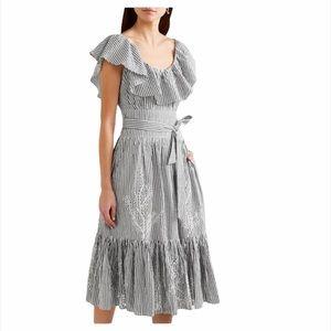 TORY BURCH RUFFLED STRIPE BRODERIE ANGLAISE DRESS!